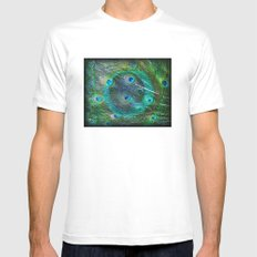 The Peacock Dream White Mens Fitted Tee MEDIUM