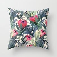 bianca green Throw Pillows featuring Painted Protea Pattern by micklyn