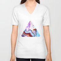 whale V-neck T-shirts featuring Agate, a vivid Metamorphic rock on Fire by Elena Kulikova