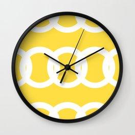 White Circles Yellow Background #decor #society6 #buyart Wall Clock