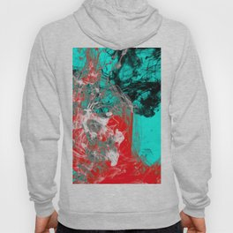 Marbled Collision - Abstract, red, blue, black and white mixed paint artwork Hoody