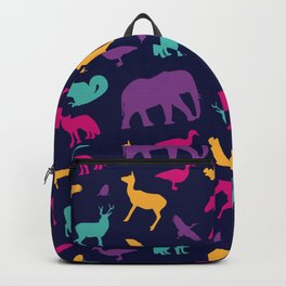 Colorful Wild Animal Silhouette Pattern Backpack