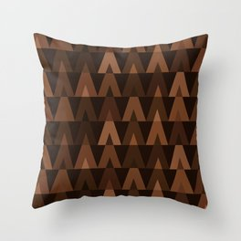 ABSTRACT TRIANGLES | espresso brown Throw Pillow