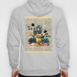 Tea Time - Alice In Wonderland - Vintage Dictionary Page Hoody