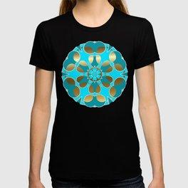 Lite Blue Snowflake on Gold T-shirt