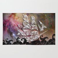celestial Area & Throw Rugs featuring Celestial Ship by Josh Ln