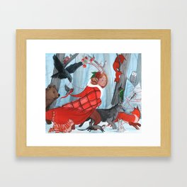 Winter stroll with the furry friends Framed Art Print