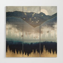 Blue Mountain Mist Wood Wall Art