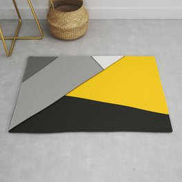 Simple Modern Gray Yellow and Black Geometric Rug
