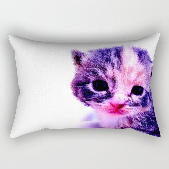 Blue Pink Cute Little Cat Rectangular Pillow