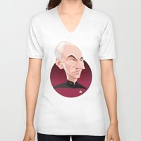 picard V-neck T-shirts featuring Captain Jean-Luc Picard by Greene Graphics