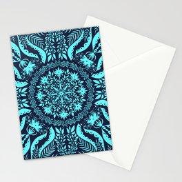 Dark Teal Botanical Folk Tile Stationery Cards