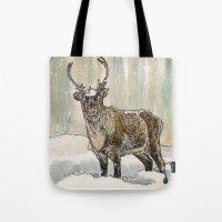 reindeer Tote Bags featuring Reindeer by Meredith Mackworth-Praed