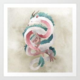 Spirited away - Haku Dragon illustration - Miyazaki, Studio Ghibli Kunstdrucke