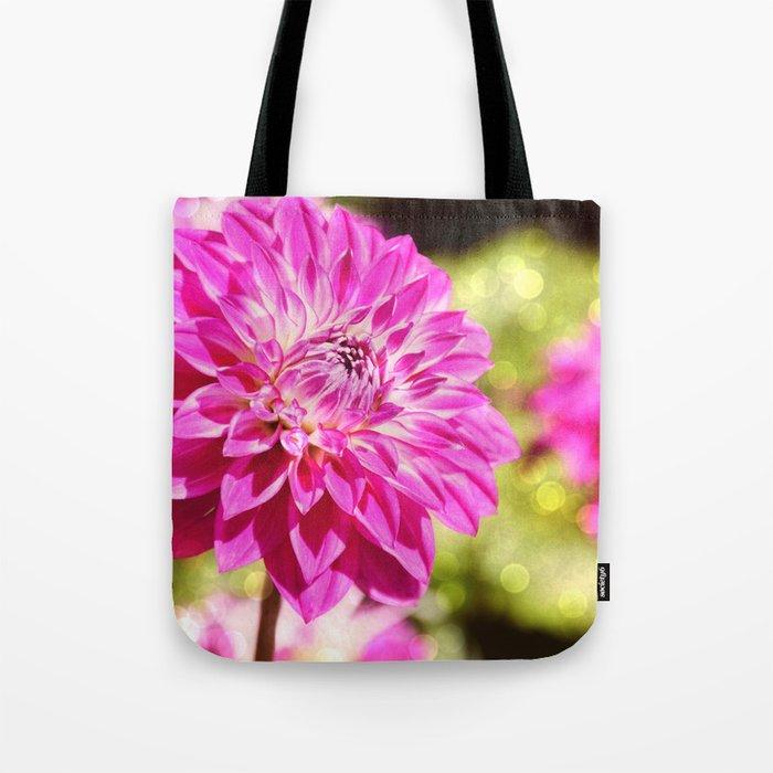 Pink dahlia on shiny day Tote Bag