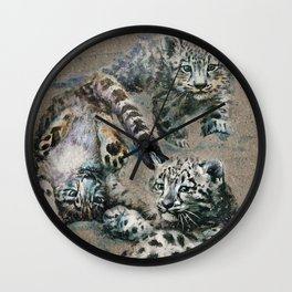 Snow leopard 2 background Wall Clock