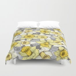 Daffodil Daze - yellow & grey daffodil illustration pattern Duvet Cover