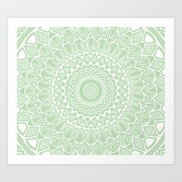 Pale Green Mandala Detailed Textured Minimal Minimalistic Art Print