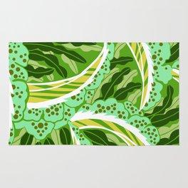 BALINESIA: GREEN SCENE, Art Deco Tropical Rug