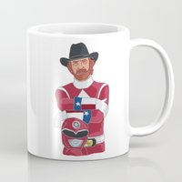 power ranger Mugs featuring Walker Texas Power Ranger by Emily Niland