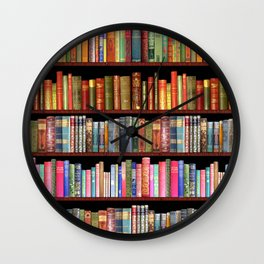 Antique books ft Jane Austen & more Wall Clock