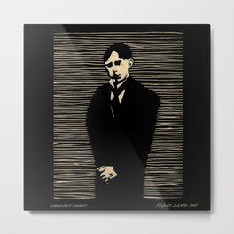 Poe woodcut print Metal Print