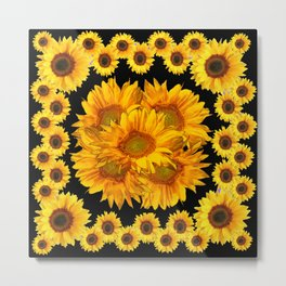 Classic Black & Golden Sunflowers Pattern Art Metal Print