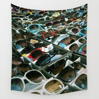 sunglasses Wall Tapestries featuring Sunglasses 102 by Alex DZ