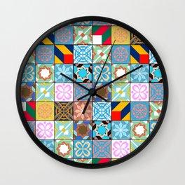 Mixed Arabic Tiles Pattern - Oriental Wall Clock
