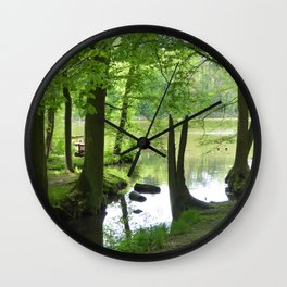 Forest with Creek scenery photo Wall Clock