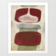 Bisected Red and Olive Shapes with Speckled Pebble Art Print