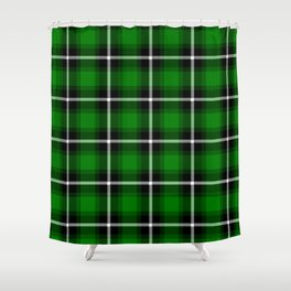 Solid Green #007900 color themed plaid SCOTTISH TARTAN Checkered Fabric Pattern texture background Shower Curtain