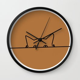 curious but shy cat Wall Clock