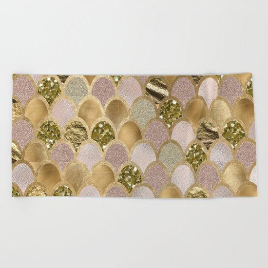 Rose gold glittering mermaid scales Beach Towel
