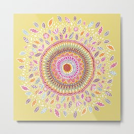 Yellow Sunflower Mandala Metal Print