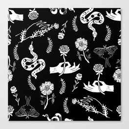 Linocut snakes hand rose floral black and white spooky gothic pattern Canvas Print
