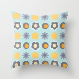 Retro 60's Floral Throw Pillow