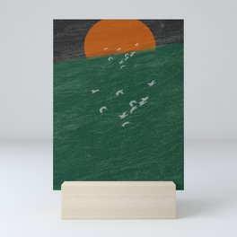 Watching from the boat seagulls in the moonset Mini Art Print