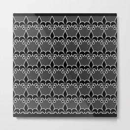 Fleur de lis Black Metal Print