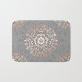 Rose Gold Gray Floral Mandala Bath Mat