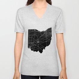 Ohio Black Map Unisex V-Neck