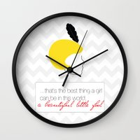 the great gatsby Wall Clocks featuring The Great Gatsby Daisy by dietraumfabrik_