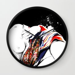 Woman wears a traditional kimono, Naked Body, Fashion illusration, Bueaty Portrait Wall Clock