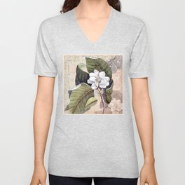 Vintage White Magnolia Unisex V-Neck
