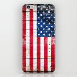 Distressed American Flag On Wood Planks - Horizontal iPhone Skin