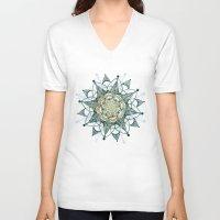 chakra V-neck T-shirts featuring Heart Chakra by brenda erickson