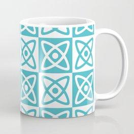 Mid Century Modern Atomic Check 140 Turquoise Coffee Mug