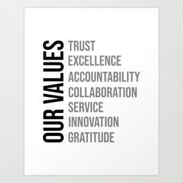 Our Values, Office Decor Ideas, Wall Art Art Print