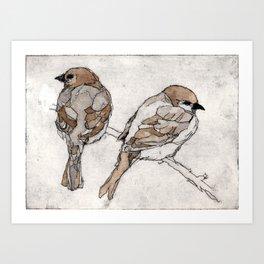 Two Sparrows | Bird Illustration Art Print