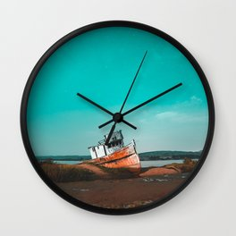 Point Reyes Boat Ruin Wall Clock
